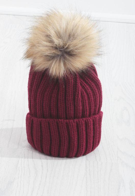 Red Knit Beige PomPom Hat-Copy