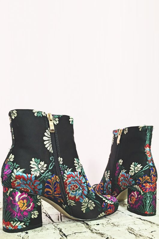 Floral Print Embroidered Ankle Boot