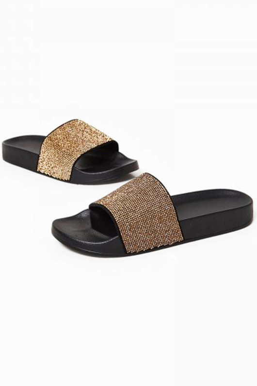 Stella Gold Diamante Slider In Black Rubber